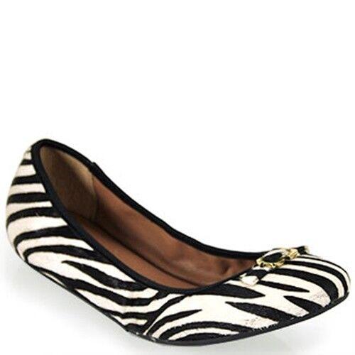 Diane von Furstenberg DVF Bion Calf Hair Ballerina Ballet Flat Zebra Print Bow 6
