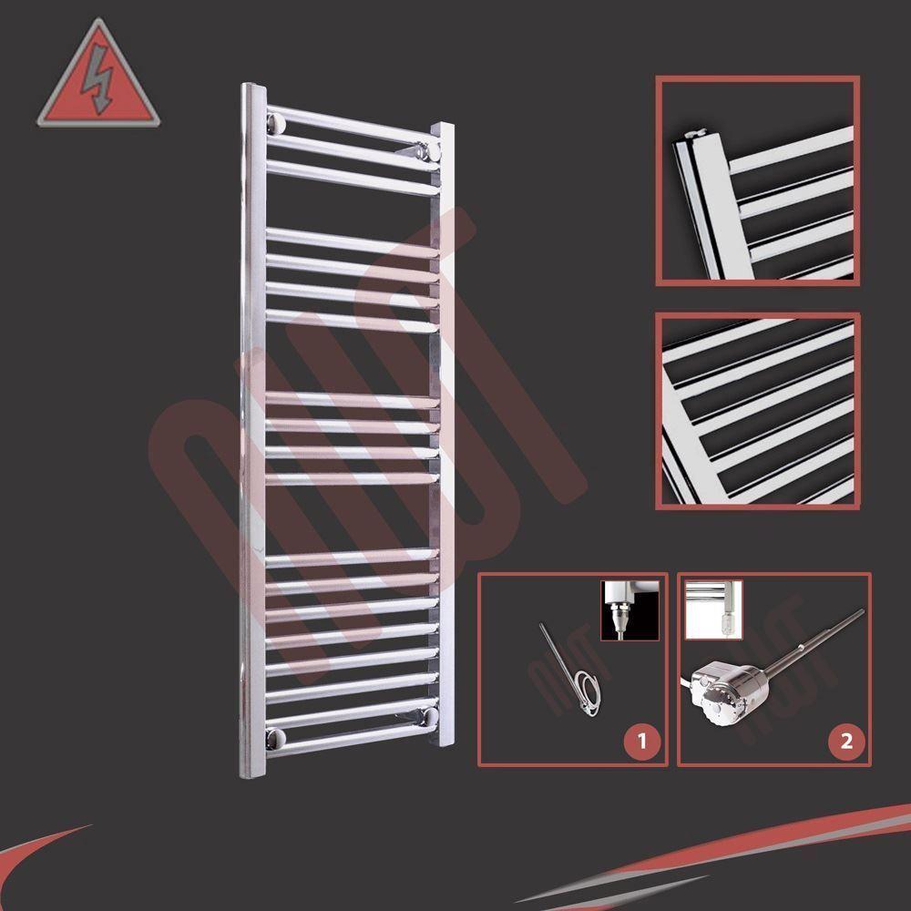 400mm (w) x 1000mm (h) préremplie électrique droite porte-serviettes chrome - 250W   300W