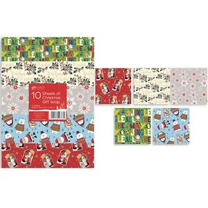 10-x-50cm-Xmas-Christmas-Wrapping-Paper-Sheets-Gift-Wrap-Present-Boy-Girl-Party