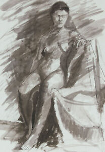 Contemporary Pen and Ink Drawing - Study of a Seated Nude