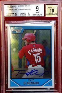 2007 Bowman Chrome Draft Draft Picks Blue Refractors Travis d'Arnaud Philadelphia Phillies #BDPP140 Baseball Card