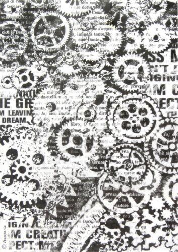 Papel De Arroz Para Decoupage Scrapbook Craft Hoja-Negro Engranajes