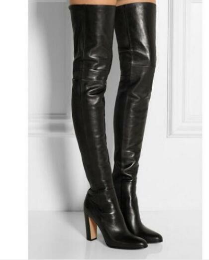 Womens leather block high heel shoes over over over the knee thigh long boots Lady Hot C f24578