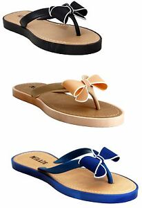 WOMENS-LADIES-FLIP-FLOPS-JELLY-BOW-SANDALS-SUMMER-BEACH-TOE-POST-SHOES-SIZE-3-8