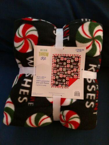"NEW No-Sew Fleece Christmas Throw Kit Peppermints 72/"""