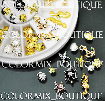 3D Nail Art Decoration Ocean Alloy Jewelry Glitter Rhinestones+Wheel (SET NO.11)