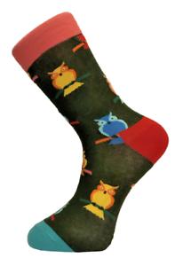 Frederick-Thomas-dark-forest-green-mens-socks-with-owl-novelty-cotton-socks