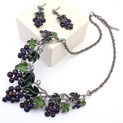 Dazzling Women Grape Pendant Choker Chain Necklace Earrings Jewelry Set