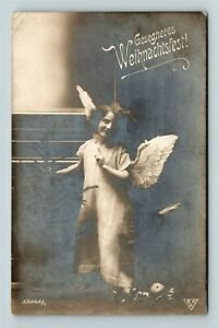 Gesegnete-Weihnachten-German-Blessed-Christmas-RPPC-Angel-Vintage-Postcard-Z46