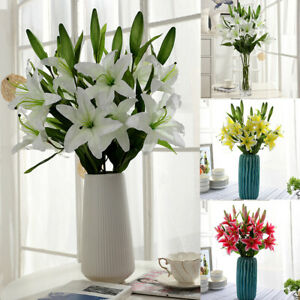 Am-1Pc-3-Head-Artificial-Lily-Flower-Home-Garden-Stage-Bridal-Wedding-Party-Dec
