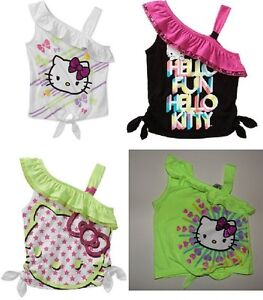 Hello-Kitty-Girls-One-Shoulder-Ruffle-Tank-Shirt-Sizes-4-5-6-6X-7-8-10-12-NWT