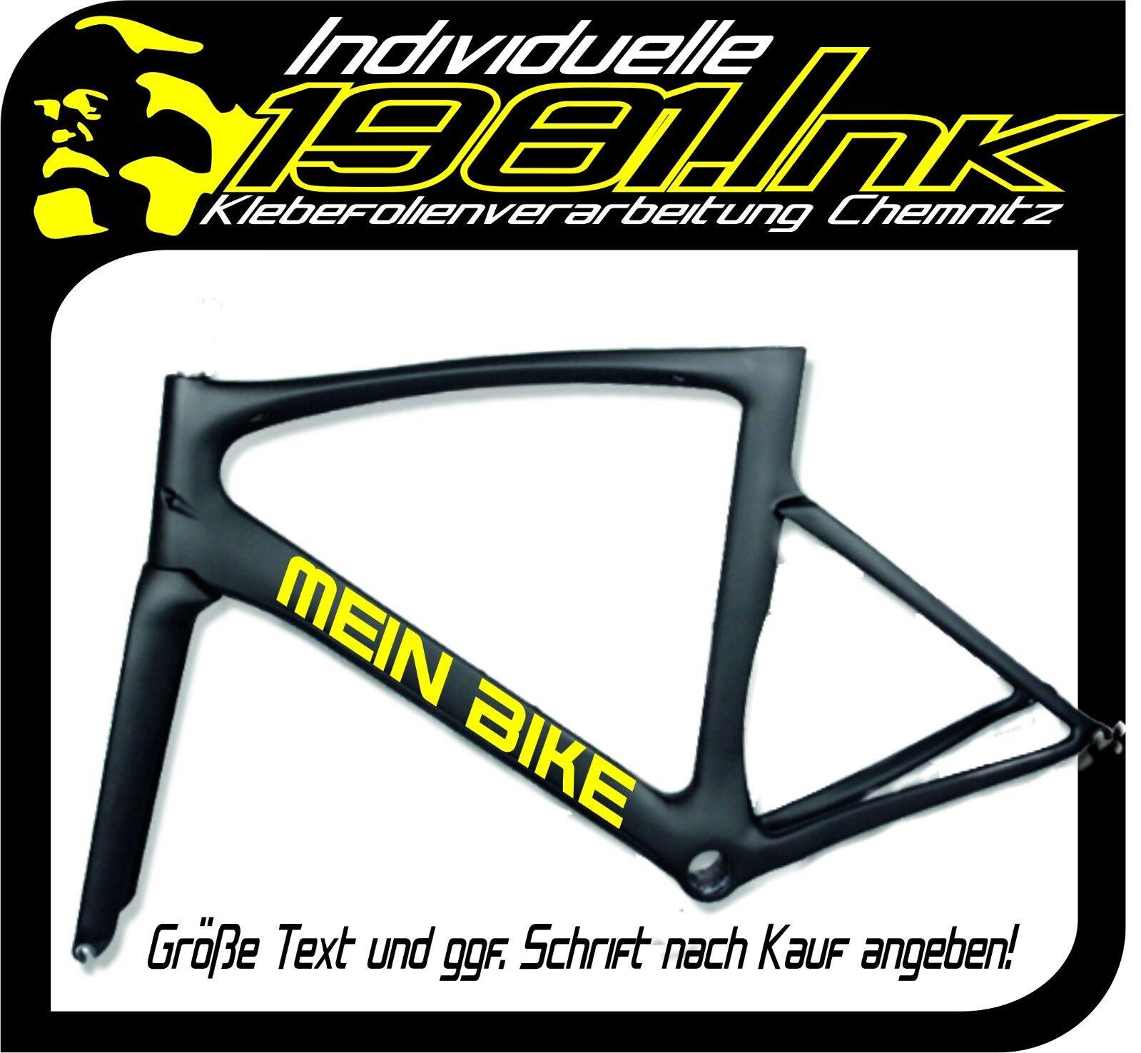 2 Fahrradrahmen Aufkleber Name Wunschtext Schriftzug MTB Rennrad ...