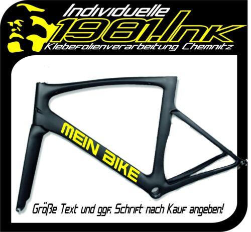 2x Wunschname Vélo Autocollant Lettrage texte Bike Film Autocollant Sticker Nom