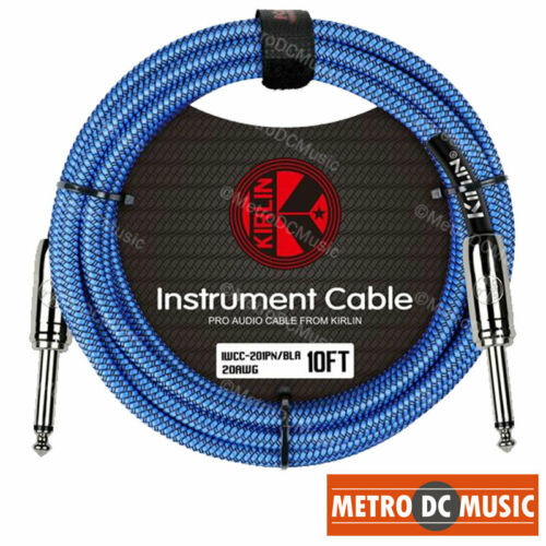 """5-Pack Kirlin 10ft Blue Woven Guitar Bass Instrument Cord Cable 20AWG 1//4/"""" NEW"""