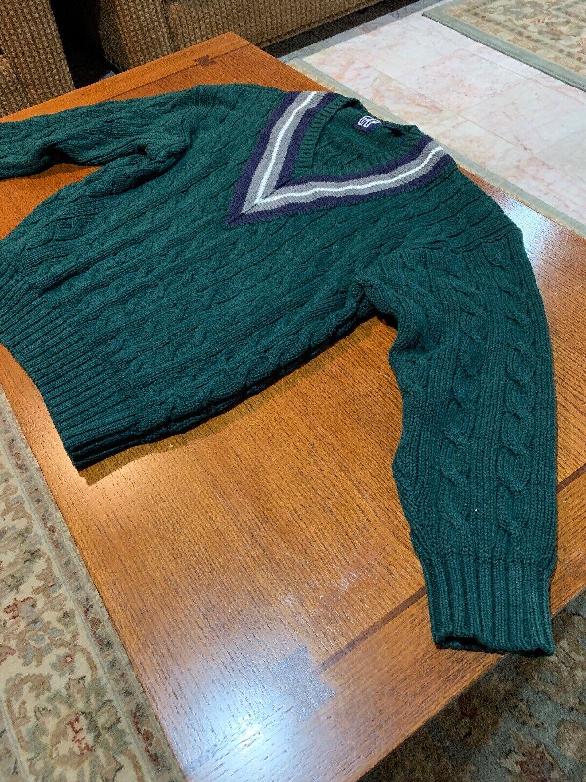 Vintage GAP Mens Preppy bluee Tennis Club Green Plaid Cable Knit Button Sweater L