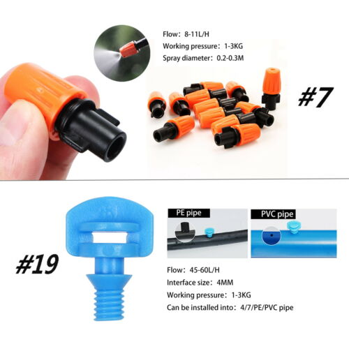 Garden/& Micro Irrigation Watering System Connectors  Water Drip Head Hose System