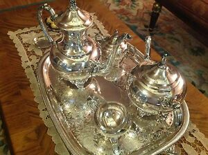 VINTAGE-WM-A-ROGERS-SILVER-PLATED-COFFEE-TEA-SUGAR-CREAM-AND-TRAY-SERVING-SET