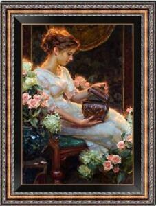 "Hand painted Original Oil Painting art Portrait girl Flower on canvas 24""X36"""