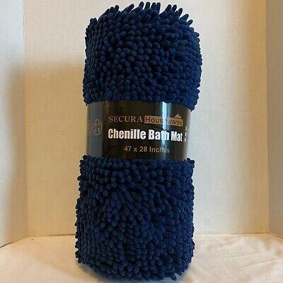 Navy Chenille Bathroom Rug