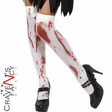 Blood Stained Stockings Hold Ups Tights Zombie Halloween Fancy Dress Hosiery New