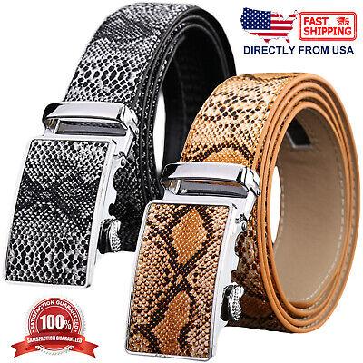 New fashion Leather like Men/'s Belt adjustable strap length brown snake print