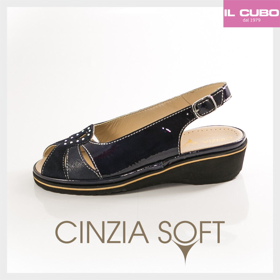 CINZIA SOFT COLORE SANDALO Damens PELLE VERNICE COLORE SOFT BLU ZEPPA H 3,5 CM MADE IN ITALY 8cd5a2