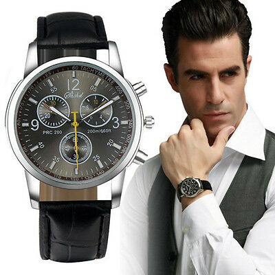 "Luxury Men Fashion wrist Watches Crocodile Faux Leather Cool Men""s Analog Watch"