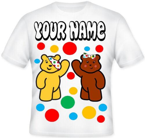 Children In Need Pudsey Bear Kids Boys Girls School T shirt Dress Up Mufty Day