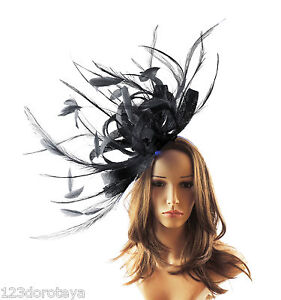 Large Black Fascinator Hat For Weddings Ascot Proms With Headband O1 ... 6ca9559c946