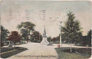 Indiana-Ind-Postcard-1911-FORT-WAYNE-LAWTON-PARK-Entrance-Monument