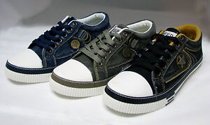Mens-Canvas-Sneakers-Lace-Up-Casual-Jeans-Shoes-Fashion-Stone-Washed-Size-7-12