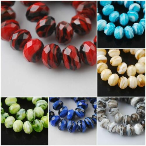 20pcs Rondelle Faceted Crystal Glass Stripe Design Lampwork Beads Loose Spacer#Q