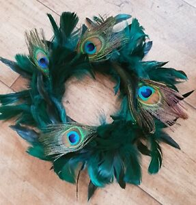 Peacock-feather-green-tone-wreath-wall-hanging-decor-mothers-day-housewarming