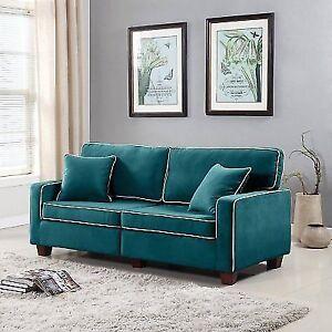 Vintage Retro Style 2 Two Tone Velvet Fabric Living Room Sofa
