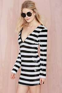 2f5aa4b1551 Image is loading Nasty-Gal-Scandal-Sequin-Plunging-Striped-Dress-Size-