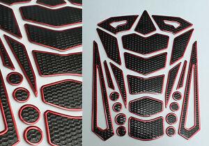Tankpad-Tankschutz-Motorrad-Carbon-Optik-3D-universell-Tankschutz-Rot-Honda-KTM