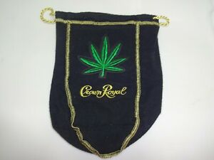 "Custom Crown Royal 750ml/1 liter 8-9"" Black Bag w/ Pot Leaf Marijuana Weed Patch"
