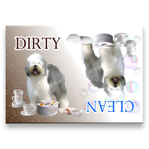 Details about OLD ENGLISH SHEEPDOG Clean Dirty DISHWASHER MAGNET New