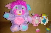 "Vintage 1980's Pretty Bit Purple/Pink Popple 6"" plus 2 minis Party and Puffball"