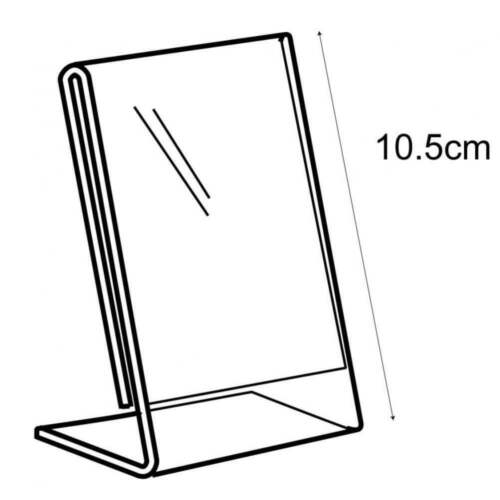 Acrylic A7 Angle Portrait Sign Holder Counter//Free Standing Retail//Shop//Museum
