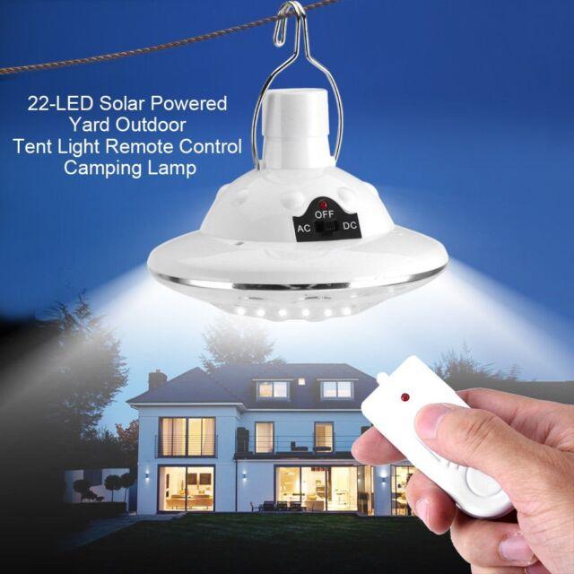 22LED Outdoor / Indoor Solar Lamp Hooking Camp Garden Lighting Remote Control UK