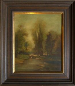 Walkers-on-the-River-Oil-Painting-illegible-Signed-Romance-Antique-19-Century