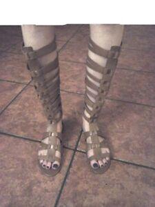 59f83791a3c SAM EDELMAN Bryant Tall GLADIATOR Sandals Tan Flat FASHION Zip US ...