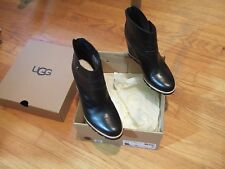 "UGG AMAL BLACK LEATHER/ SHEEPSKIN 3"" WEDGE ANKLE BOOTS, US 7/ EUR 38  ~W/box 6.5"