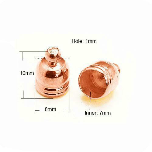 Packet 20 x Rose Gold Plated Brass Bell-Shape End Caps 8 x 10mm HA03316