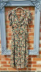 Bnwt New Topshop Stunning floral midi maxi summer tea dress size 16 puff sleeved