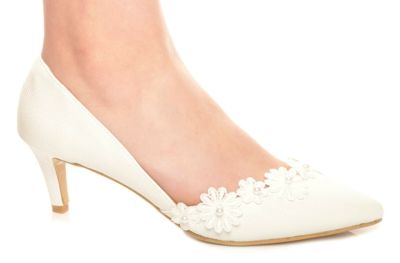 Off White Flower Pointed Toe Textured Cut-Out Side Wedding Kitten Heels
