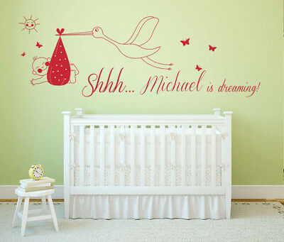 Wall decal sticker art. cots Flying Stork /& Baby for nurseries baby showers
