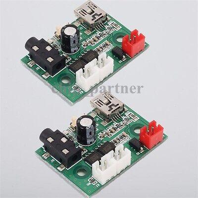 2Pcs Mini 3W+3W Class AB Stereo Power Amplifier Board 5V USB 3.7V-4.2V Battery