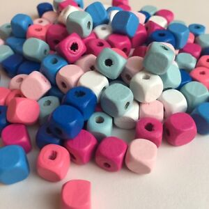 50X-Mixed-Colour-Wooden-Cube-Beads-10mm-Pastel-Macrame-Craft-Wood-Bead